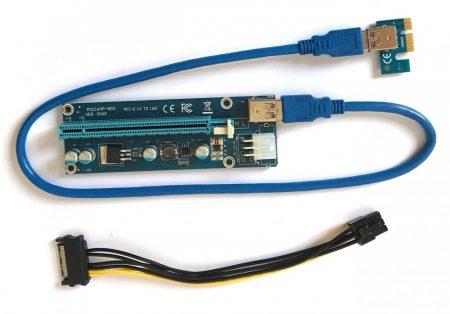 Riser kártya USB 3.0 PCE164P-N03 VER 006C PCI-e 1x TO 16x Extender Mining crypto