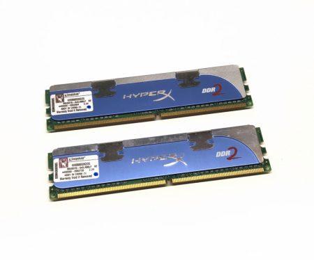 Kingston HyperX Dual Channel Kit 2GB KIT 2x1Gb DDR2 1066Mhz használt PC számítógép memória Ram KHX8500D2K2/2G PC2-8500