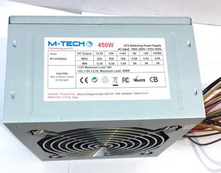 M-tech  450W használt tápegység PC TÁP 12cm