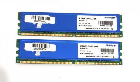 Patriot 4Gb DDR2 2x2Gb KIT800MHz memória ram PC2-6400 PSD22G80026H