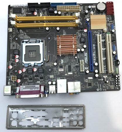 Asus P5kPL-AM rev 2.05g LGA775 használt alaplap DDR2 integrált videokártya PCI-e SATA