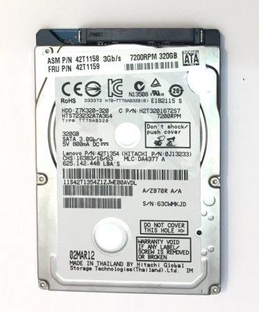 """320Gb használt Laptop SATA HDD merevlemez 2,5"""" 7200Rpm slim 7mm 100/100"""