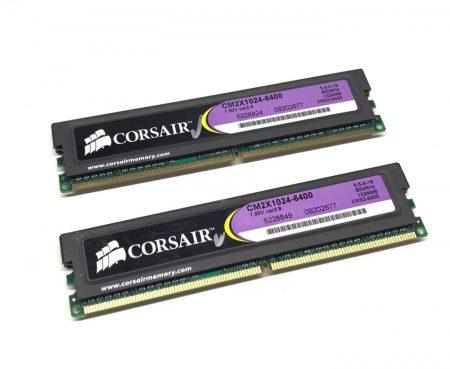 Corsair XMS2 2Gb KIT 2x1Gb DDR2 800Mhz használt PC számítógép memória Ram Ver2.8 CM2X1024-6400 PC2-6400