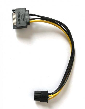 SATA táp PCI-e VGA 6pin táp kábel átalakító