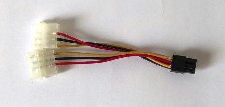 Y Molex PCI-e VGA 6pin táp kábel átalakító 2x molex -ből PCI-e 6pin