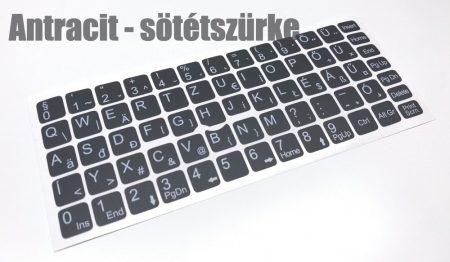 Magyar ékezetes billentyűzet matrica antracit - sötétszürke Matt 1év 100% kopás garanciával, nagyon jó minőség